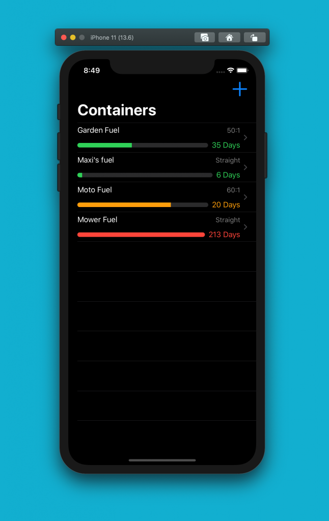 2 stroke premix calculator iOS app - dark mode
